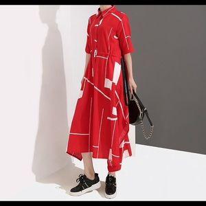 Vintage style oversized Geometric Dress Free Size